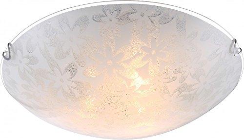 Hoogwaardige plafondlamp metaal wit glas opaal gesatineerd met bloemendecoratie Globo TORNADO 40463-3