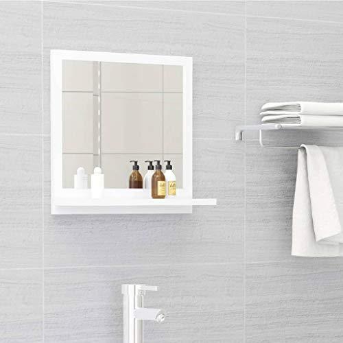 vidaXL Badspiegel mit Ablage Wandspiegel Badezimmerspiegel Hängespiegel Bad Spiegel Badezimmer Badmöbel Weiß 40x10,5x37cm Spanplatte