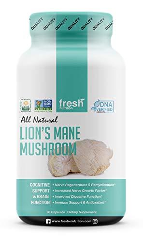 Organic Lions Mane Mushroom Capsules - Strongest DNA Verified Formula - Rich in Alpha Glucan - Powerful Superfood Supplement - Brain, Nerve & Immune System Benefits - Vegan Friendly