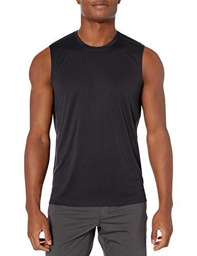 Amazon Brand - Peak Velocity Men's Tech Stretch Hybrid Muscle Tank Top, black, Medium