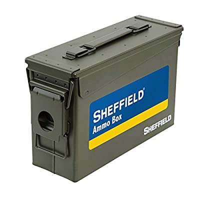 Sheffield 12640 .30 Caliber Tactical Ammo Can, Air Tight & Waterproof Box, Tamper Proof, Stackable Design, Drab Green