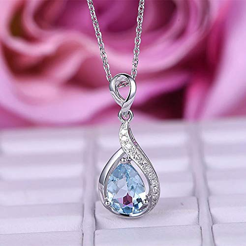 Full Diamond DropShaped Blue Zircon Necklace Female Birthday Gift Clavicle Chain, Necklaces & Pendants, Jewelry & Watches (Blue)