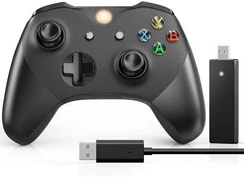Kabelloser Controller für Xbox Series X/S, passend X/S/Xbox One/Xbox One S/One X/One Elite/Windows 7/8/10, Usergaing Wireless PC Gamepad mit 2,4 GHz Adapter, Schwarz – ohne Audio-Buchse