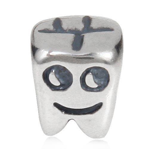 I Love My Tooth Charm 925 Sterling Silver Smile Face Beads for DIY Bracelets