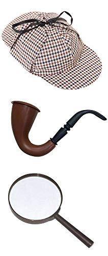 ILOVEFANCYDRESS Disfraz DE Sherlock Holmes para Adulto Conjunto TEMATICO con Gorra, Lupa Y Pipa DE PLASTICO