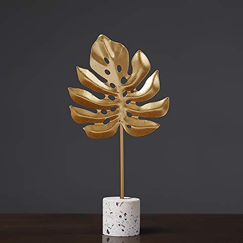 PDXGZ Metal Statues Sculpture, Creative Golden Leaf Simple Ornament, Table Desk Decor Creative Home Living Room Cabinet Shelf Decoration,C