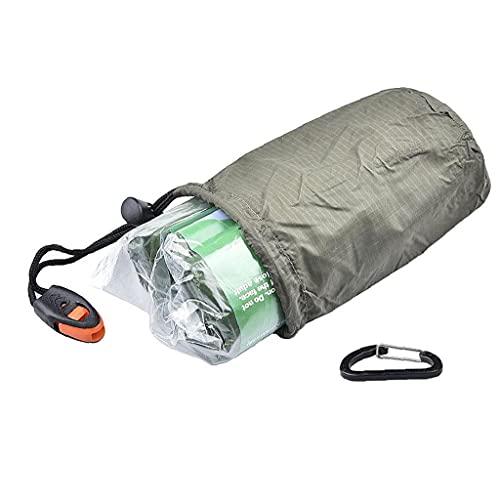 EElabper Aluminio Ahorro de Saco de Dormir al Aire Libre Manta de Emergencia Saco de Dormir Ligero Viaje de excursión Que acampa Verde