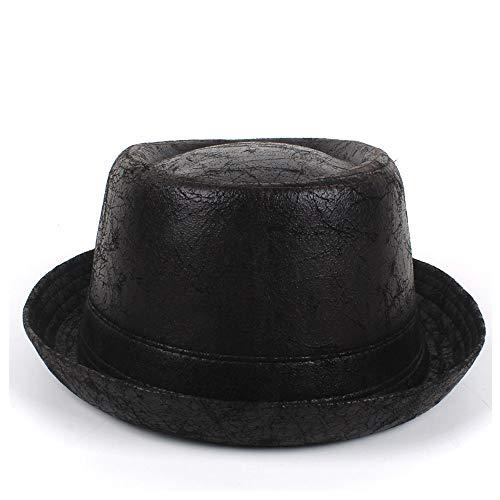 JIANGJINLAN Pork Pie Hat de Cuero for los Hombres del Sombrero de Fedora papá Plana Jazz Hat for Caballero del Sombrero de Copa Bowler Gambler Szie M L (Color : Dark Coffee, Size : 57-58CM)