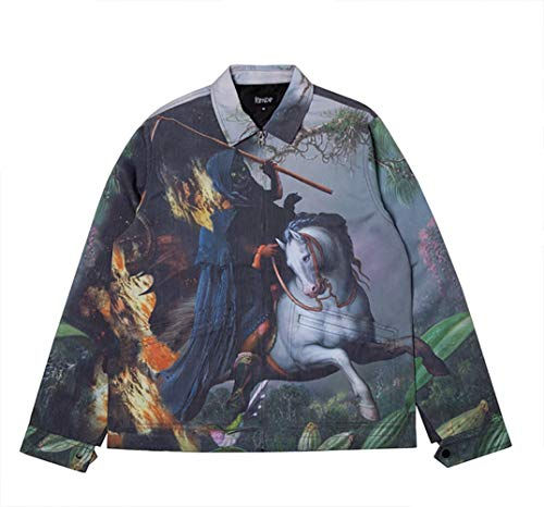 Ripndip Fire & Desire Denim Coach Jacket Impresión All Over – Original garantía (M)