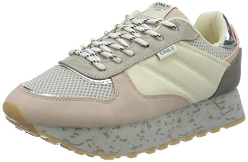 ONLY ONLSONIA-1 Elevated Sneaker, Zapatillas Mujer, Beige Detail W Color Blocking, 36 EU