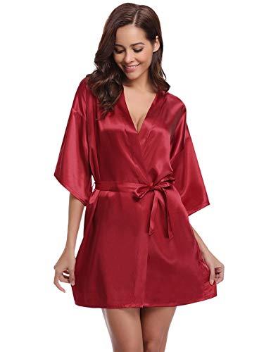 Abollria Kimono Mujer Bata para Satén Mujer Ropa de Dormir Batas Vino Tinto,XL