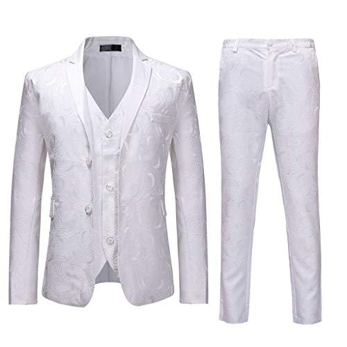 Qinhanjia Herren Anzug Regular Fit Business Anzüge 3-Teilig Anzugjacke Anzughose Weste, Herrenanzug Schlanke 3-Teilige Anzug Blazer Business Hochzeitsfeier Jacke Weste & Hose