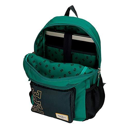 Mochila Pepe Jeans Mark Dos Compartimentos Adaptable, Verde, 31x46x15 cm