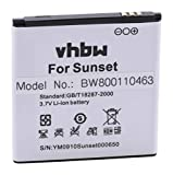 vhbw Li-ION Batterie 1200mAh (3.7V) pour téléphone Portable Mobil Smartphone Wiko Goa, Sunset, Sunset 2