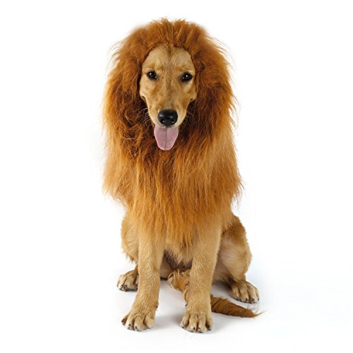 Pet Dog Costume Lion Mane Wig Christmas Halloween Clothes Festival Fancy Dress up (with ear)