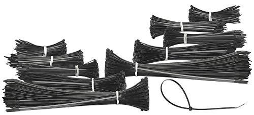 AGT Kabelbaumbündelbänder: 1.000er-Set Kabelbinder in 5 Größen zu je 200 Stück, schwarz (Kabelbinder Sortiment)
