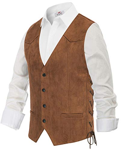 Men's Western Style Suede Leather Vest Slim Fit Lace-up Waistcoat Brown, Small