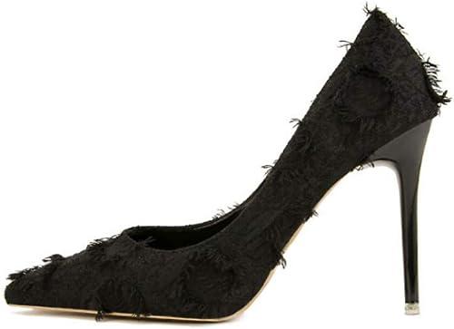 Chaussures à Talons Hauts en Flanelle Noire à La Mode Sexy pour Femmes