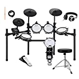 Donner DED-200 Electric Kit Electronic with Mesh Head 8 Piece, Drum Throne, Sticks Headphone & Audio Cable Included, More Stable Iron Metal...