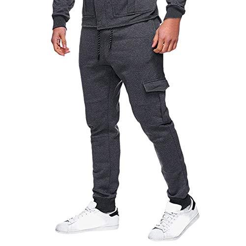 Kobay Hommes Les Pantalons De SurvêTement Pantalon DéContracté Sport éLastique à Poches Bouffantes(Large,Gris foncé)