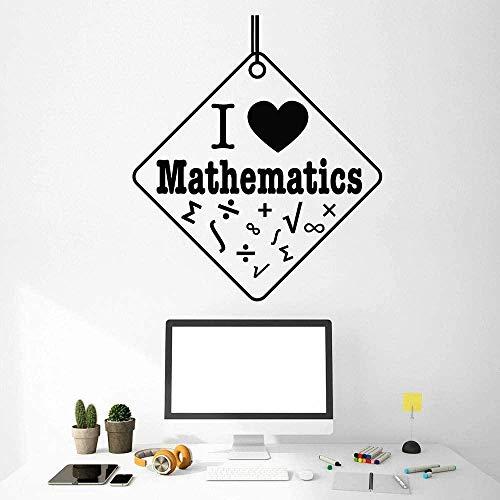 Pegatina De Pared Física Matemáticas Estudio Aprendizaje Mural Inspirador Amor Matemáticas Flor Matemática Símbolo Escuela Aula Vinilo Móvil Durable Fuerte Negro 57X64Cm