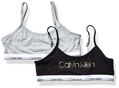 Calvin Klein Girl's Modern Cotton Bralette Underwear, black, Heather Grey, Small, S,Little Girls