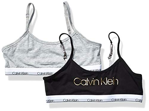 Calvin Klein Little Modern Bralette de algodón para niñas, Black, Heather Grey, Medium