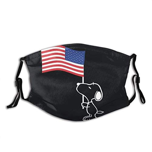 American Flag Snoopy Unisex Windproof and Dustproof Mouth Mask,Face Cover with Adjustable Elastic Strap