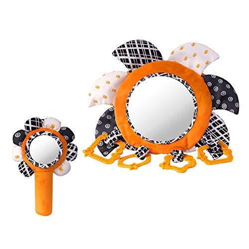#N/A/a Espejo para el Suelo de bebé con sonajeros de Felpa Conjuntos de Flores de Sol, Espejo para Coche de bebé para Asiento Trasero Actividad Cochecito de