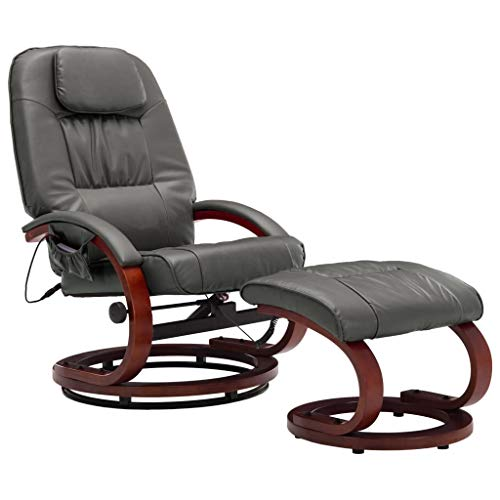 vidaXL Massagesessel mit Fußhocker Hocker Wärmefunktion Relaxsessel Fernsehsessel TV Sessel Liegesessel Ruhesessel Grau Kunstleder