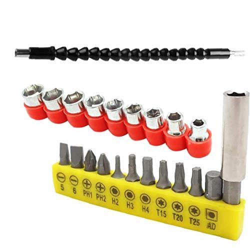 ZYCX123 Extensión de Destornillador Juego de Broca con Las Fuentes de extensión Flexible magnético Universal del Eje Negro industriales