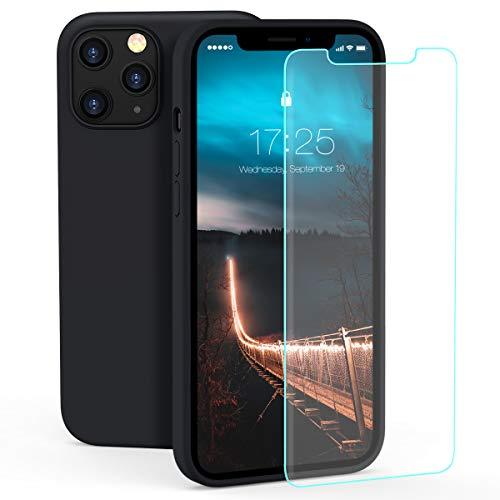 """ZELAXY Silikonhülle Kompatibel mit iPhone 12 / iPhone 12 Pro (6,1"""") – Handyhülle Kratzfeste Stoßfeste Hartschale mit Mikrofaser-Innenausstattung – Weich Griff fest + Displayschutzfolie – Schwarz"""