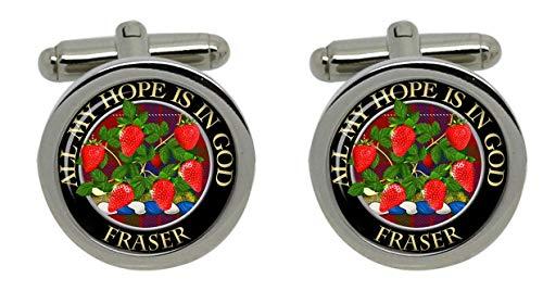 Macdonald Sporrans Fraser écossais pour homme Écusson Chrome Boutons de manchette avec coffret cadeau