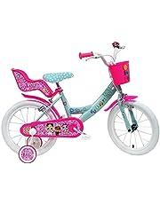 LOL 16 inch fiets voor meisjes, met 2 remmen, mand voor, poppenstandaard, spatborden en stabilisatoren, turquoise/fuchsia/wit