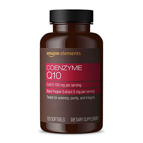 Amazon Elements Coenzyme Q10 100mg and Black Pepper Extract 5mg - Normal Energy Production, Supports Cardiovascular Health - 4 month supply (120 Softgels) (Packaging may vary)