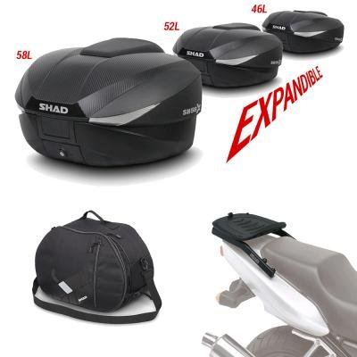 Sh58bohe159 - rear luggage and luggage set kit + internal gift bag sh58 compatible with yamaha t-max 500 2008-2012