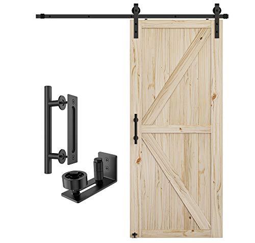 Homlux 36in x 84in Barn Door with 6.6ft Sliding Barn Door Hardware Kit & 12inch Handle, Natural Pine Wood,DIY Unfinished Solid Wood Door Slab,Pre-Drilled Holes for Easily Install,Interior Door,K-Frame