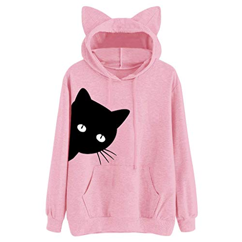 LJXLXY Sudadera con Capucha de Manga Larga con Estampado de Gato para Mujer Sudadera con Capucha Tops Blusa