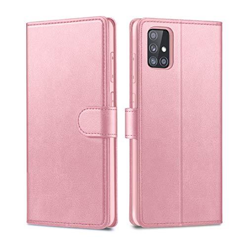 Focusor Compatible con Samsung Galaxy A51 Funda, Samsung A51 Funda, Funda de teléfono móvil Samsung A51 Funda de Piel con Tapa y función Atril de Piel sintética para Samsung A51, Oro Rosa