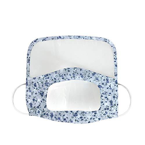 Blingko Mann Frauen Mundschutz mit lear Fenster sichtbar, Schutz,Atmungsaktiver Sommer Face Cover,Winddicht Sommerschal Bandana,für Gehörlose Stumme (F)