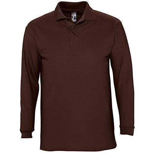 SOLS Mens Winter II Long Sleeve Pique Cotton Polo Shirt (XXL) (Chocolate)