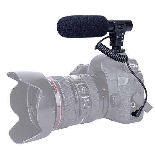 TKOOFN Micrófono Cámara Mic, Micrófono Mono Externos Portátil Ligera Fácil para DSLR Canon Nikon Sony Pentax Cámara Videocámara Grabación Entrevista Vídeo (Interfaz de Audio de 3,5mm)