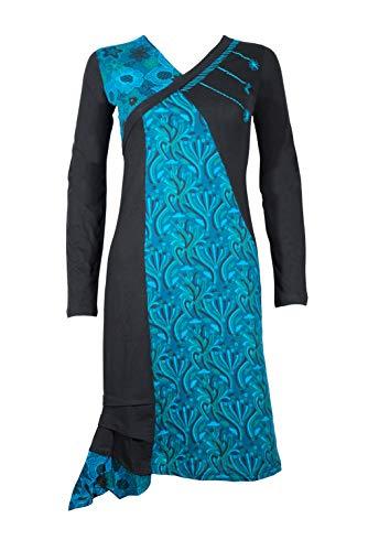 Filosophie Ultra feminines Damen Kleid/Freizeitkleid mit wunderschönen Ethno Muster und ausgefallenen asymmetrischen Schnitt - Suri (Blau) (L/XL)