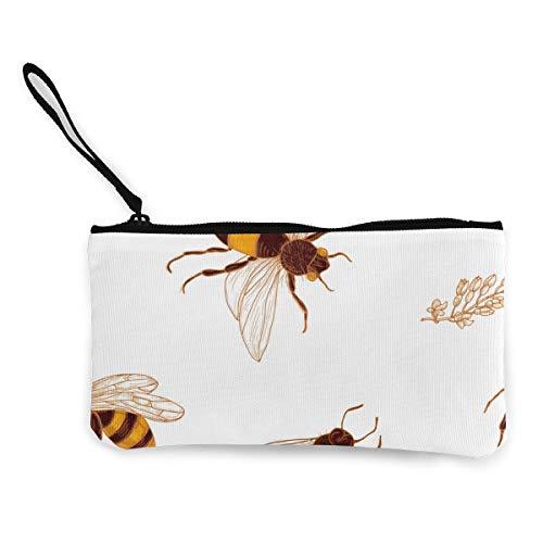 Honing Bijen en Acacia Plant Canvas Portemonnee Prachtige Muntportemonnee Kleine Canvas Muntportemonnee wordt gebruikt om muntverandering, ID en andere vast te houden