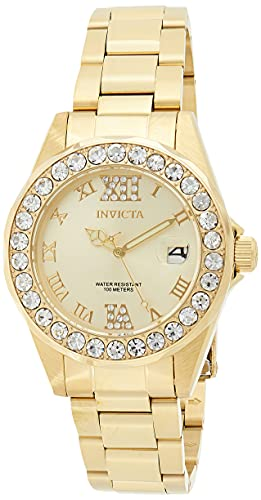 Pro Diver Invicta reloj de acero inoxidable de mujer 15252 con revestimiento iónico dorado con esfera de oro