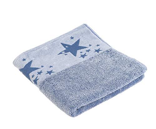 Gözze Handtuch Serie Denim mit Sterne Bordüre 100% Baumwolle (hellblau, 2er Pack Handtuch 50x100)