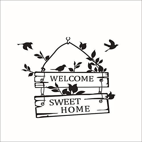 Stickers in het Engels, vogel, tuin, wind, woonkamer, slaapkamer, achtergrond, muursticker, 39 x 31 cm