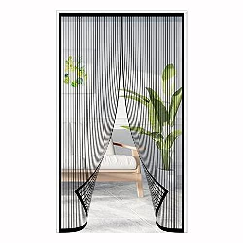 ERPENG Fliegennetz Vorhang 160x250cm Magnetverschluss faltbar Fliegenvorhang Vorhang einfach zu montieren Ohne Bohren für Wohnzimmer Schiebetür Terrassentür, Schwarz