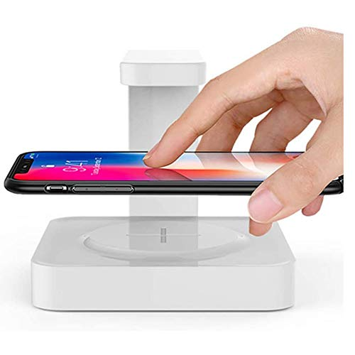 UV Cell Phone Sanitizer met draadloos opladen, Portable Smartphone Sanitizer & Universele draadloze oplader Phone Cleaner met USB opladen Ondersteuning Qi snelladen,White