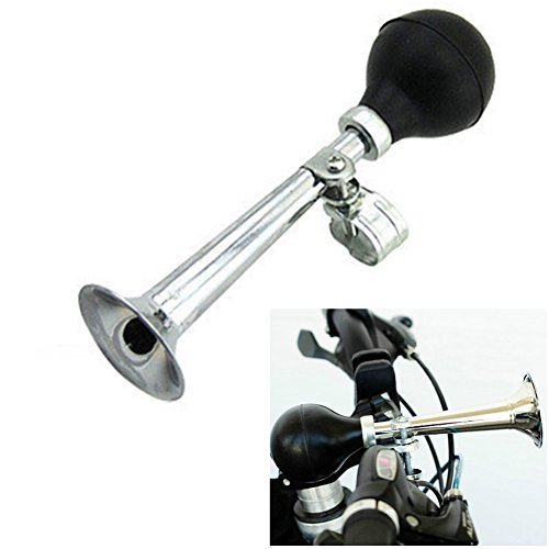 Forberesten Bike Metal Air Horn Plated Metal Horn Bugle Shape Bicycle Bell Suitable for Harley, Beach Car
